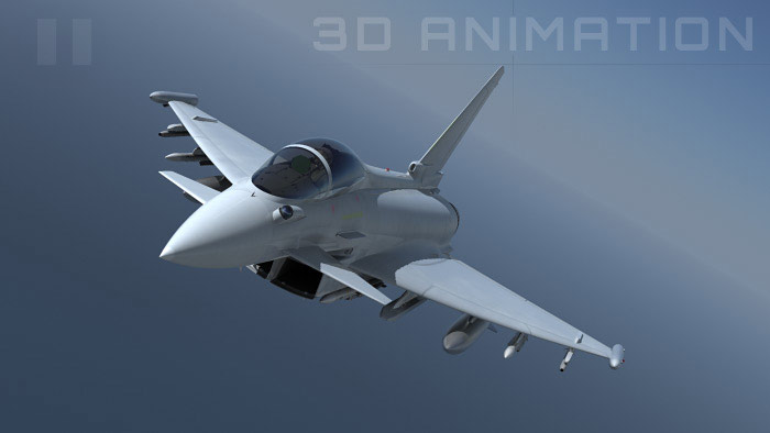 Animated 3d video of Typhoon for aerospace