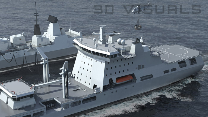 Realistic 3D visualisation of ships at sea